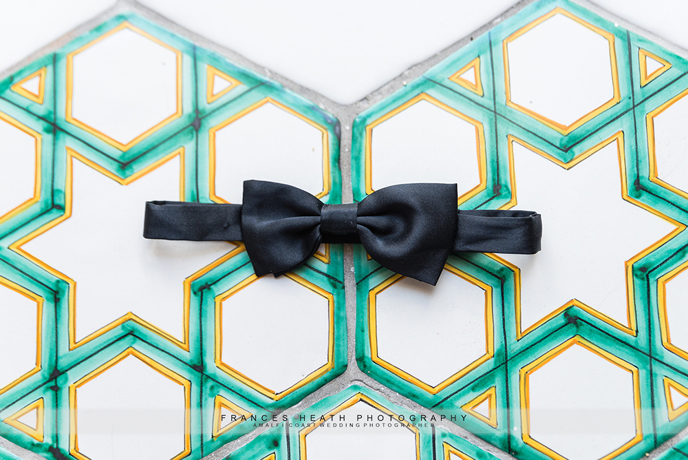 Bow tie on Amalfi coast Vietri ceramic tiles