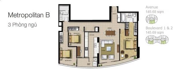 Mặt bằng căn hộ City Garden: Metropolitan B 3 phòng ngủ