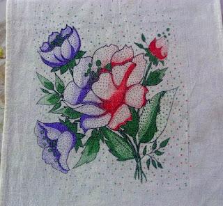 pintura em tecido ecobag com flor