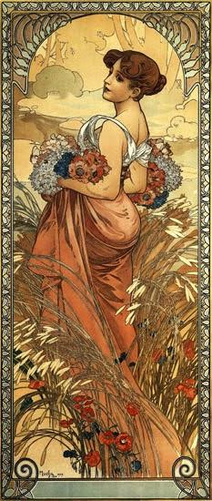 Verão - Alphonse Mucha e suas principais pinturas ~ (Art Nouveau) Tcheco