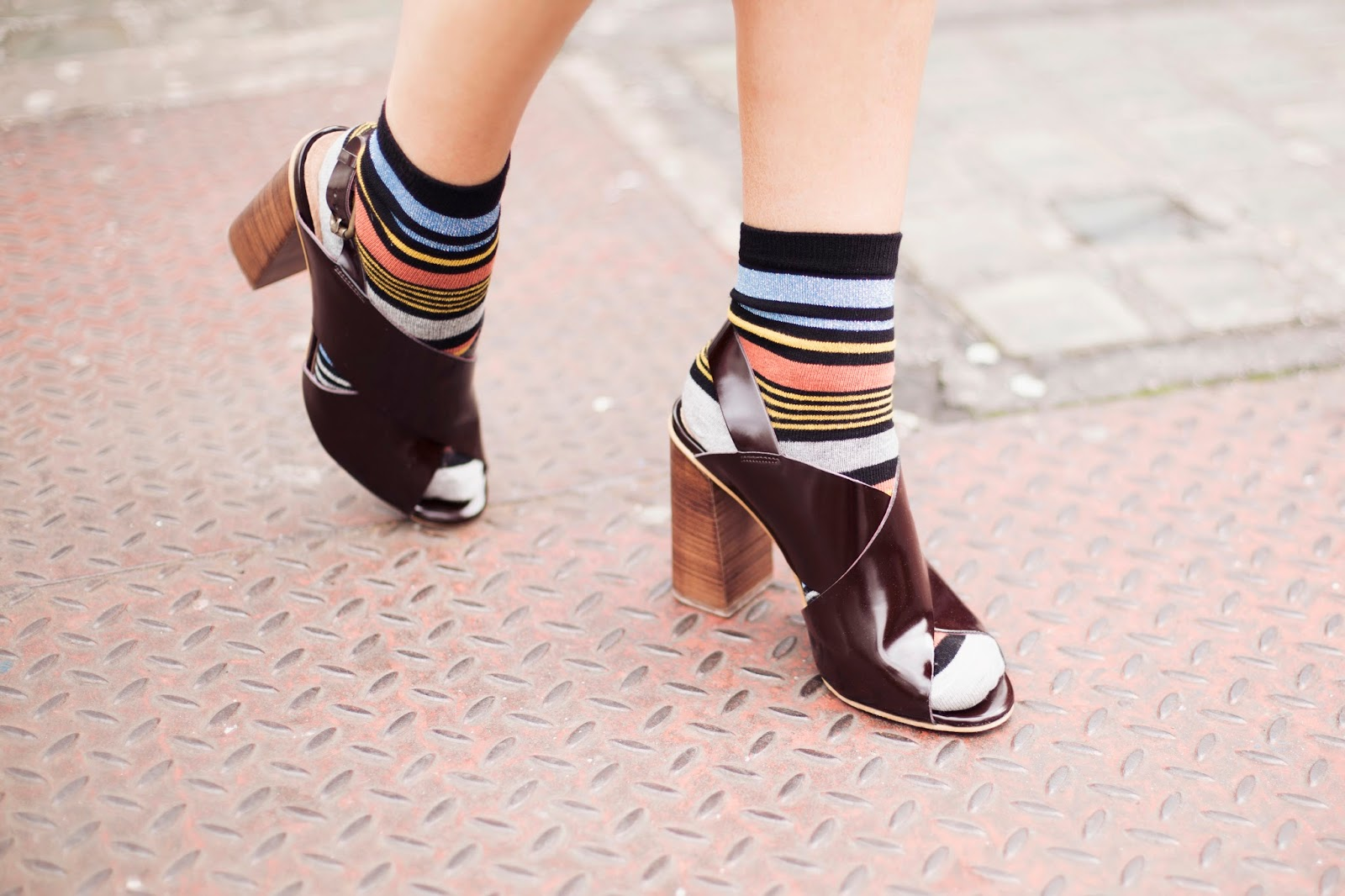 Megan Ellaby | Socks and Sandals with ASOS stripe & lurex socks and Office burgundy cross over sling back heels