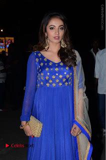 Telugu Actress Tejaswi Madivada Pos in Blue Long Dress at Nanna Nenu Na Boyfriends Audio Launch  0025.JPG