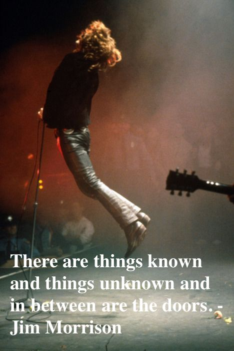 Jim Morrison, jumping while singing in concert.  There are things known and things unknown and in between are the doors.   Mr. Mojo Risin and other stories of Rock, Radio, and Regulations. Marchmatron.com