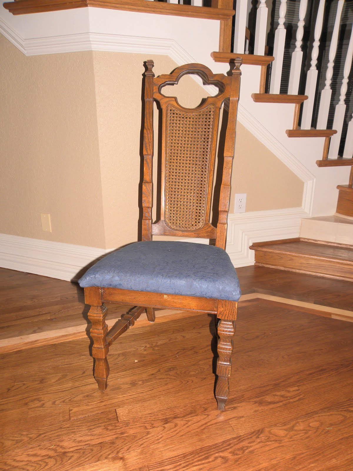 funky wooden chairs blue chair sashes wedding frugal and fabulous redo