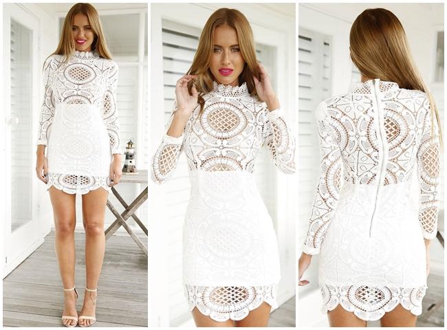 Sheinside 2015 Fall White Lace Turtle Neck Dress