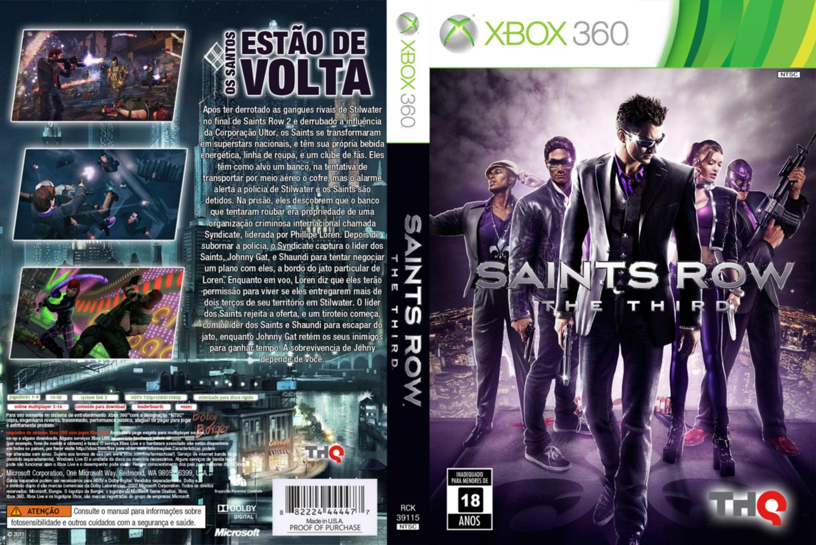 capa saints row the third xbox 360 gamecover capas customizadas para dvd e bluray. Black Bedroom Furniture Sets. Home Design Ideas