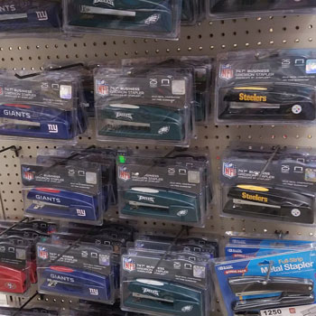 staplers with NFL teams image on the Back to Stationery Shopping #AtoZchallenge blog post by @JLenniDorner August 2017 Giants, Steelers, Eagles