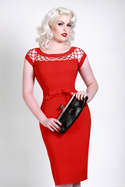 Fashion World Palace: Alika Pencil Dress In Red By Bettie