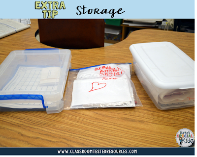 Storage for student created math games.