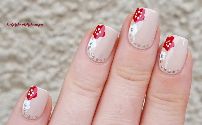 Life World Women Elegant Nude Nail Art With Red White Dot Flowers