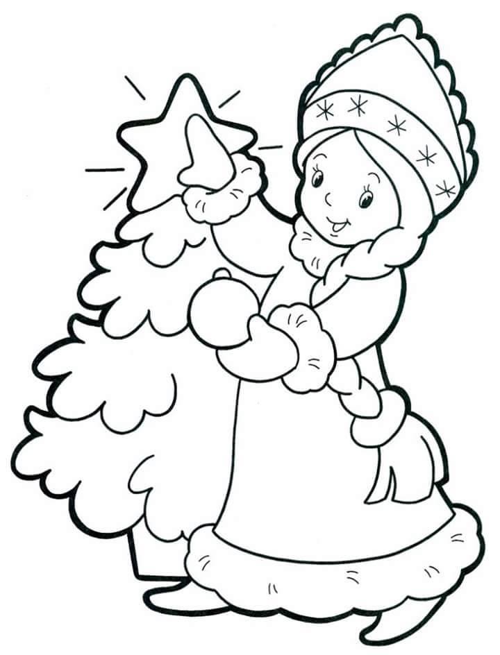 hình ảnh tranh tô màu bé gái đang đứng cạnh cây thông noel