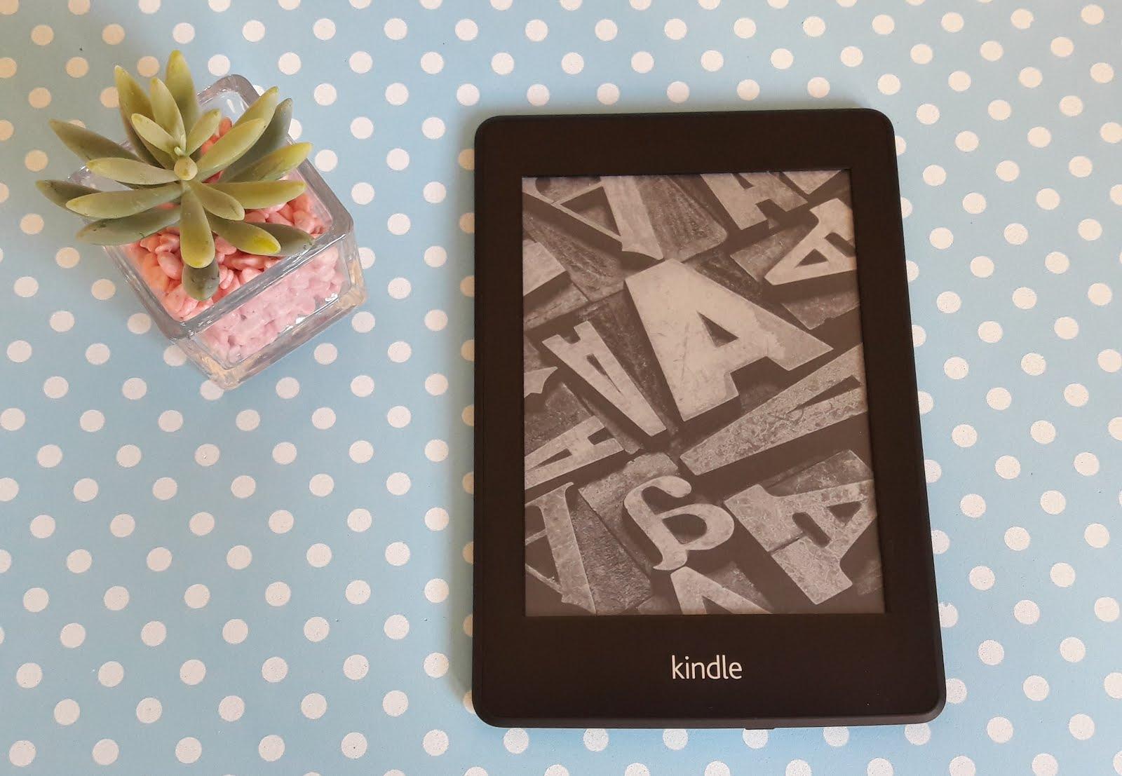 Foto do leitor de ebooks Kindle com uma planta suculenta ao lado