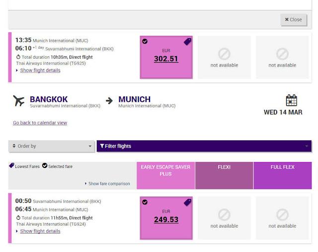 Thai Airways München Bangkok 11 Monate vor Abflug