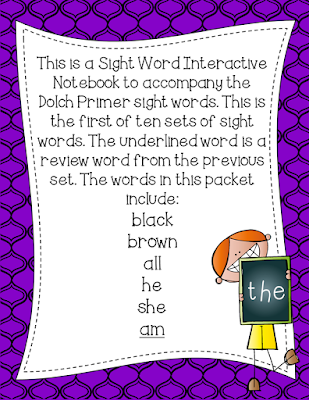 https://www.teacherspayteachers.com/Product/Primer-Dolch-Sight-Word-Interactive-Notebooks-Set-1-1367208