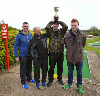 The podium of the Skegness Minigolf Championship, from l-r Richard Gottfried, Alan Norman, Brad Shepherd, Seth Thomas