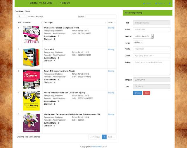 Aplikasi Perpustakaan PHP MYSQL Bootstrap