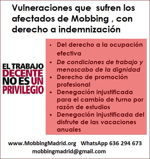MobbingMadrid Vulneraciones que  sufren los afectados de Mobbing , con derecho a indemnización