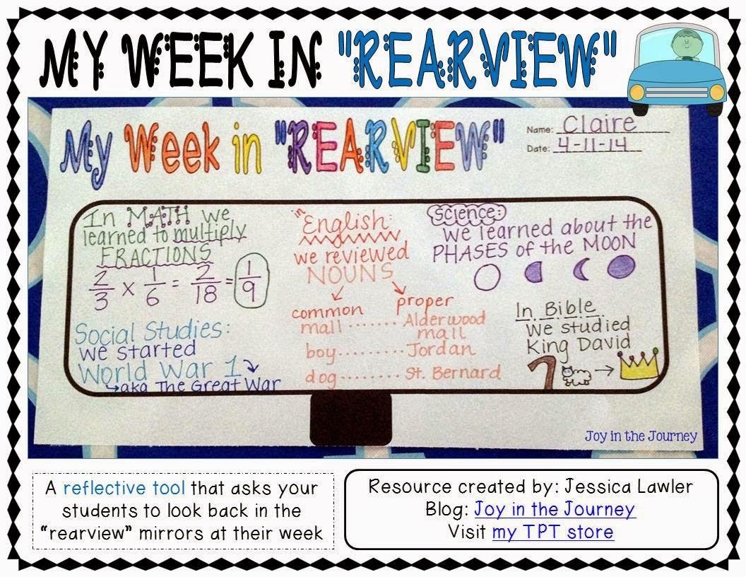 Fifth Grade Freebies Free Reflection Tool My Week In