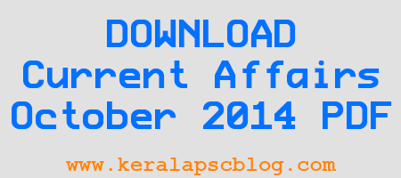 Current Affairs October 2014 Questions and Answers PDF