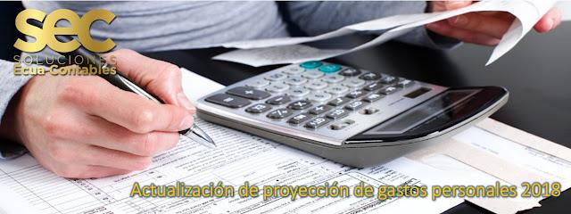 Actualizacion de proyeccion de gastos personales
