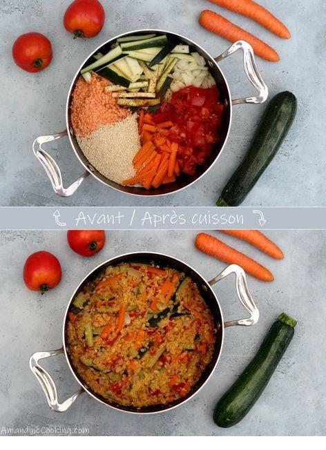 One Pot Quinoa, Lentilles Corail, Carotte, Courgette Et Tomate