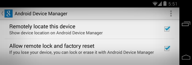 Settingan Android Device Manager