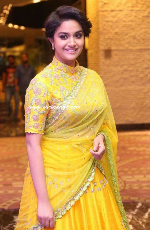 Latest saree designs keerthi suresh in pink lehenga checkout actress keerthi suresh in pink lehenga with rich work and paired with half sleeves work blouse altavistaventures Image collections