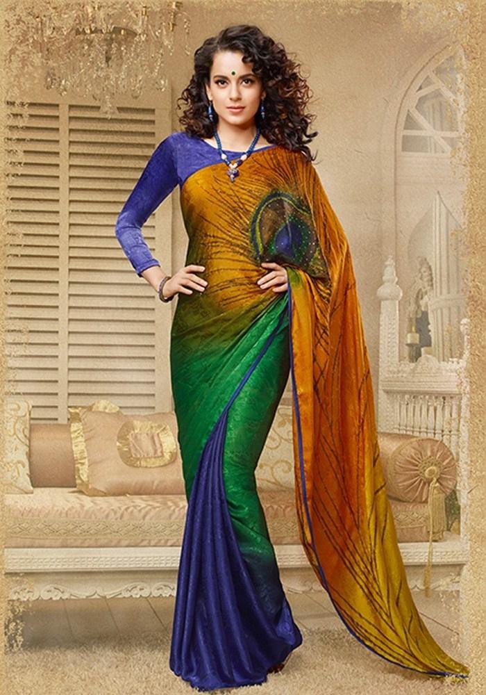 Saree Market Peacock Multi Colour Printed Designer Saree Images