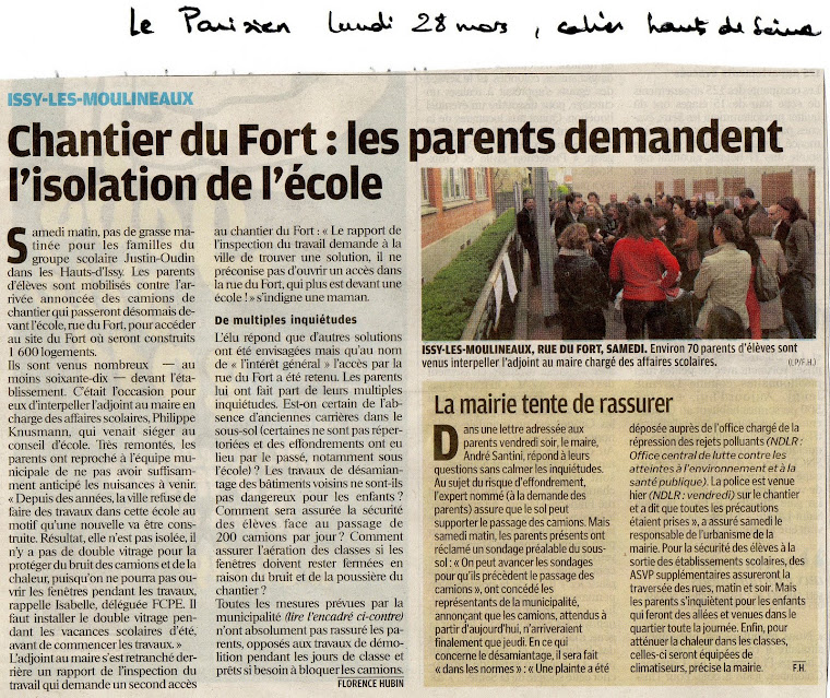 Article du parisien paru lundi 28 mars 2011