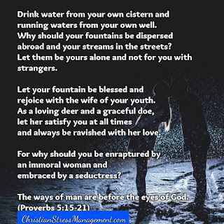 Drink from your cistern and running waters from your own well. (Proverbs 5:15)