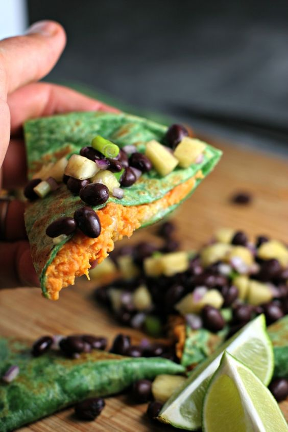 sweet potato quesadillas with black bean pineapple salsa