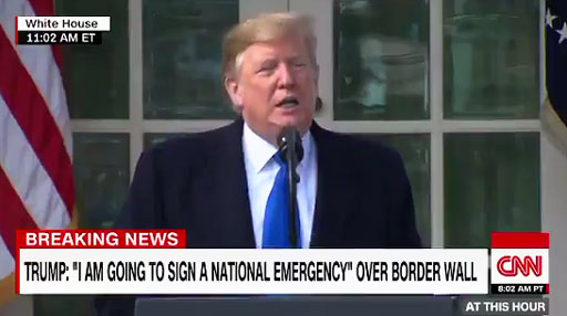 Donald Trump declares 'national emergency' over border security