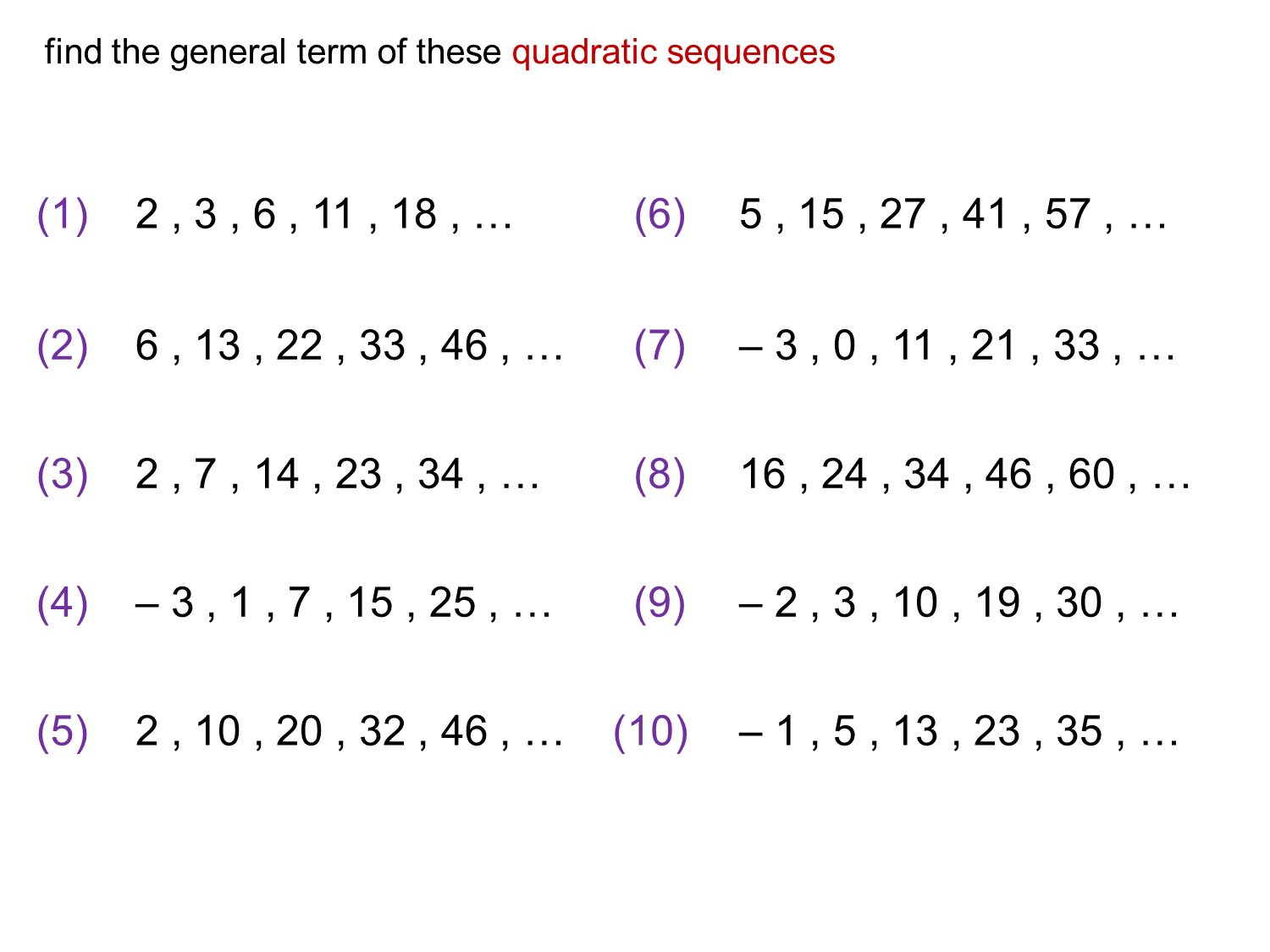 Median Don Steward Mathematics Teaching Quadratic Nth
