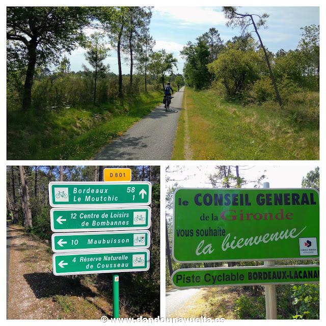 Vía ciclista Lacanau - Burdeos, en La Velodyssee. Francia