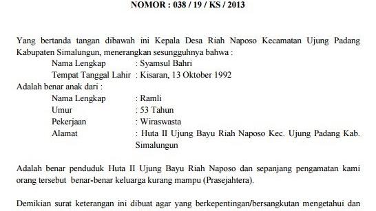 Contoh Surat Keterangan Tidak Mampu Kepala Desa Untuk