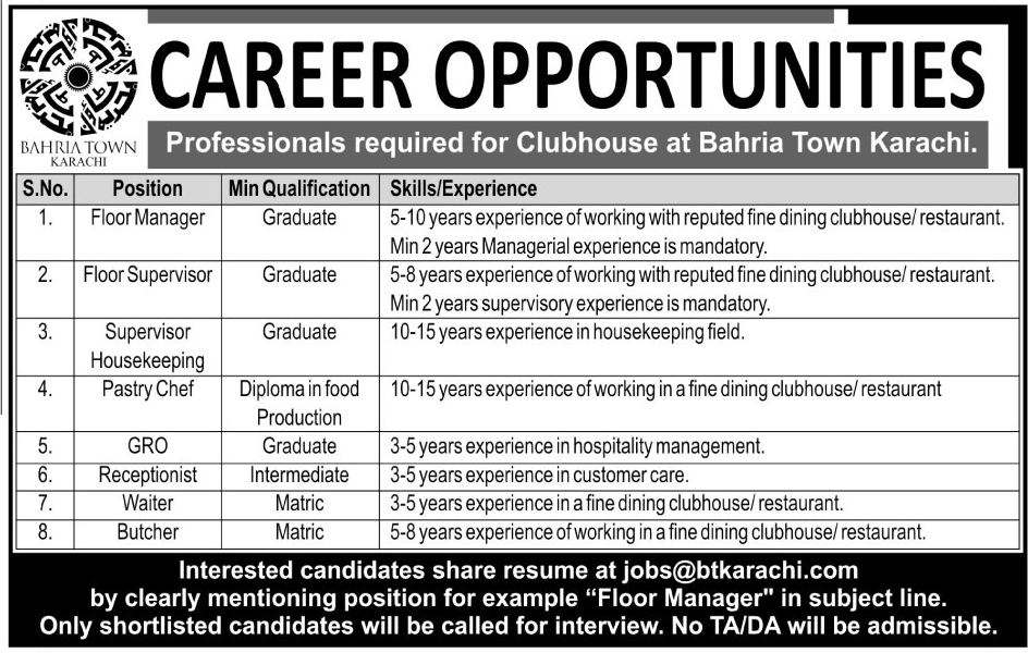 Professional Jobs In Bahria Town Karachi Nov 2017