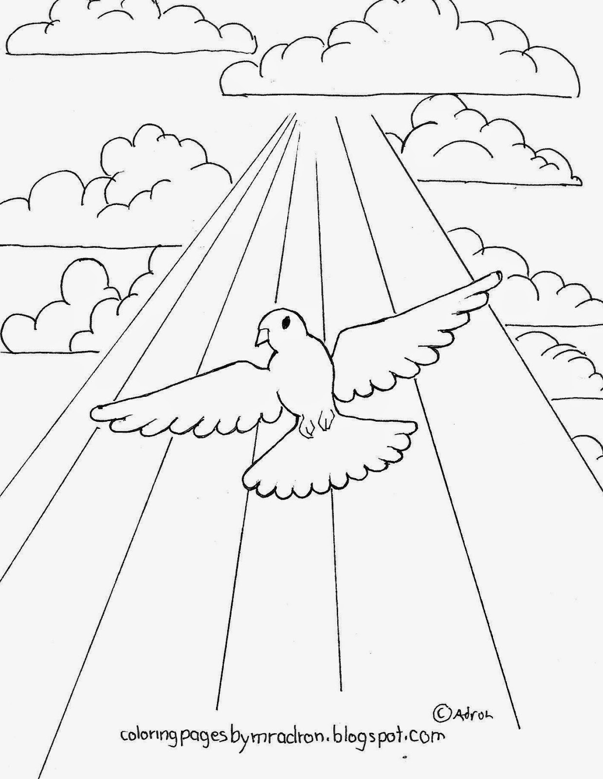 A drawing of a dove that can be printed and colored.
