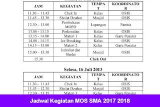 Jadwal Kegiatan MOS SMA 2017 2018