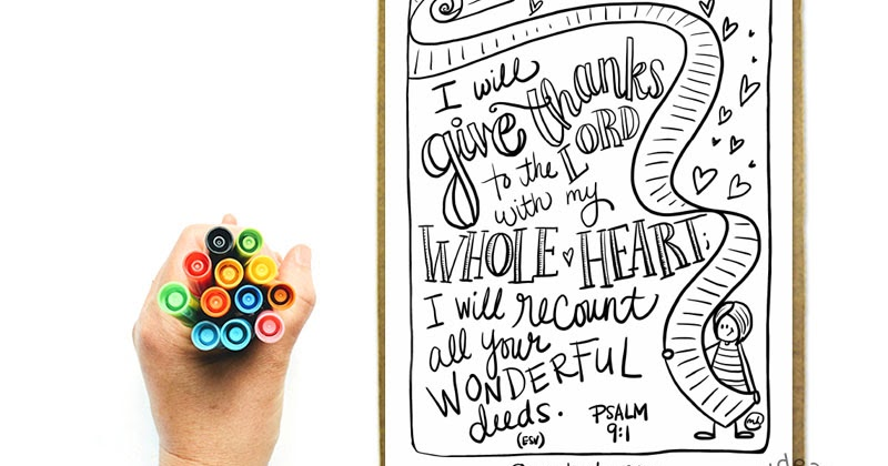 The recount + Psalm 9:1 Printable Bible Coloring Page in English and