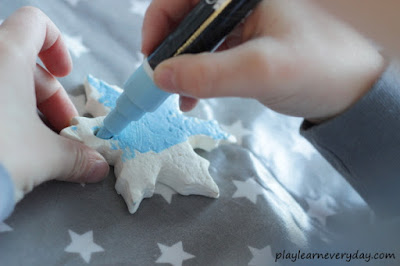 colouring clay snowflakes