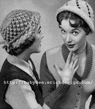 Free Vintage Knitting Patterns 1950s : The Vintage Pattern Files: 1950s Knitting - Popcorn & Spiral Hats