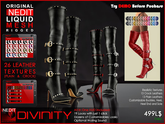 *DIVINITY* ~ Over Knee Boots With Belts and Buckles