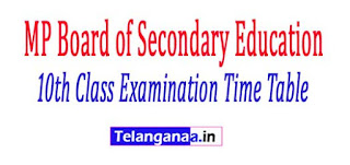 MP Board 10th Class Examination Time Table 2017