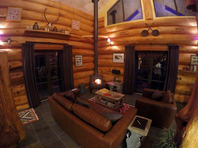 Interior of Log Cabin at Eagle Brae in Scotland