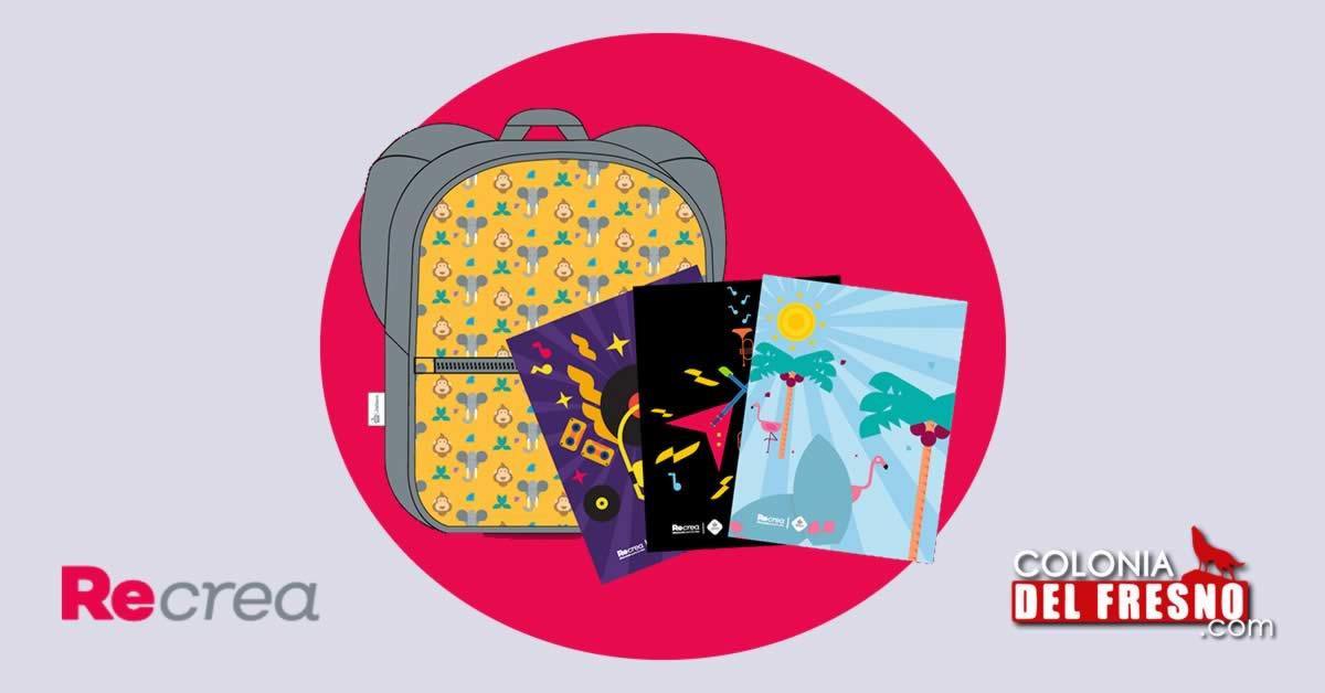 Logotipo de recrea Jalisco y vectores de mochilas