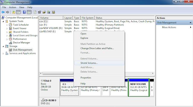 Membuat Partisi Baru di Windows 7