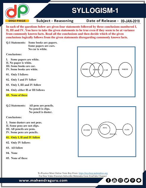 DP   Syllogism For IBPS Clerk Mains   09 - 01 - 2018