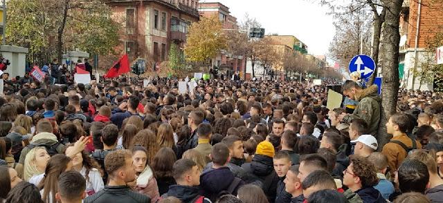 Students protesting in Tirana