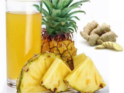 benefícios do abacaxi, gengibre e mel