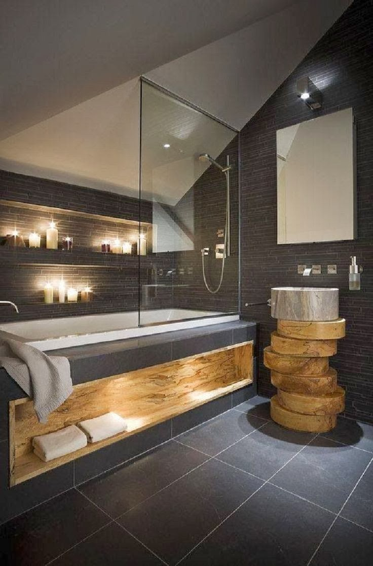 inspiration salle de bain salle de bain moderne ardoise et bois massif. Black Bedroom Furniture Sets. Home Design Ideas